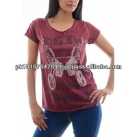 Maroon Crewneck T Shirts Women, 100% Cotton, Cheap Wholesale Price
