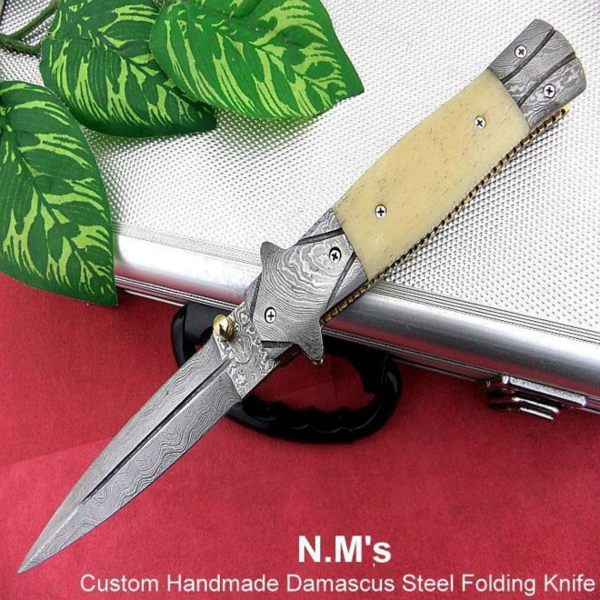 "ikiv f63"" custom handmade Damascus folding knife / pocket knife with camel bone and Damascus bolster"