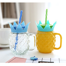 New Design Color Spraying 500ml 16oz Pineapple Shape Glass Mason Jar Drinking Glass Cup Mason Jar With Tin Lid And Straw