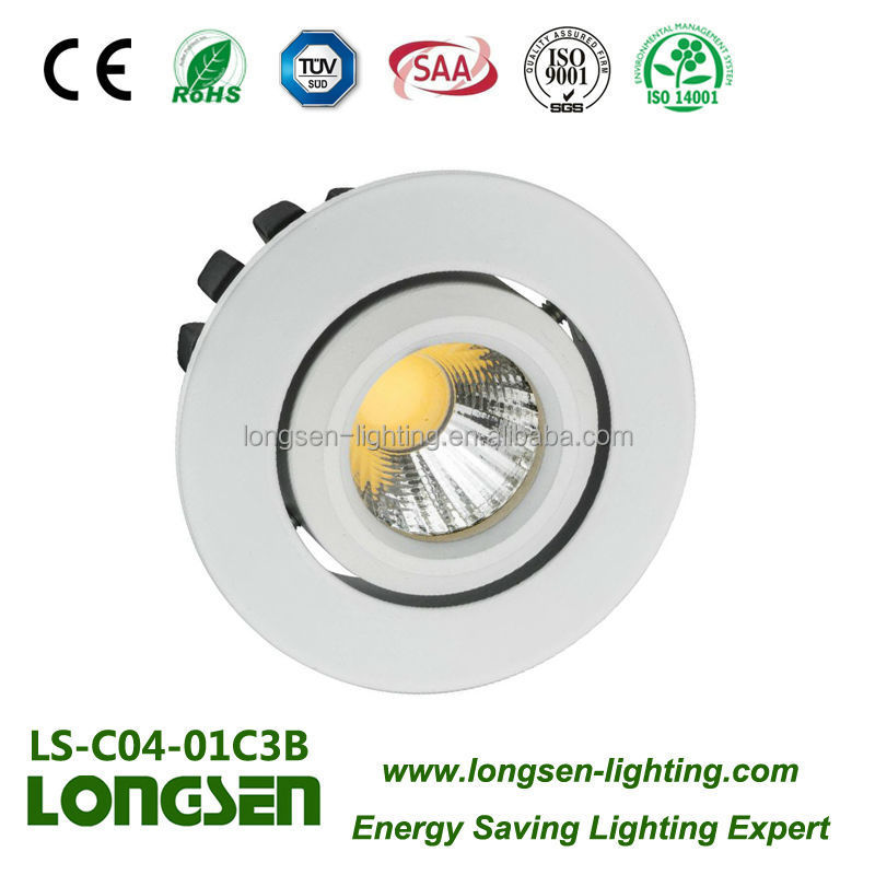 cob led downlight 3W with Aluminum Alloy Samsung led chip 3 years warranty