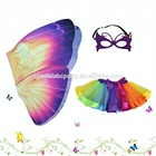 Girls Purple Butterfly Wing Costumes For Kids With TuTu Skirt And Butterfly Mask Birthday Party Supplies