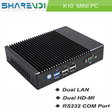 Win 7 Win 10 Linux Micro computer 2 Ethernet MINI PC for Dual Display Advertising Industrial PC
