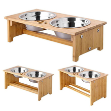 Elevated bamboo dog cat pet bowls feeder with 2 stainless steel bowls