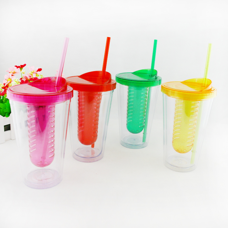 FDA Clear Acrylic Tumbler with colourful Striped Straw plastic water drinking bottle