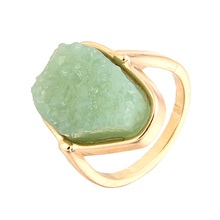 Women Geometric Apple Green Simulated Rock Rings Jewelry Women Female Dropshipping Gold Color Wedding Rings