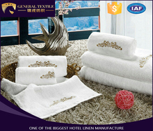 new design gold embroidery 100% cotton face , hand ,bath towel for hotel