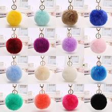 Free shipping hot sale AMAZON fashion 27 color size 8CM imitation fur ball keychain