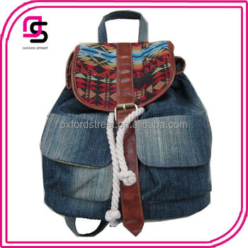 Stock Fashion Lady Washed Denim Backpack with Aztec Flap