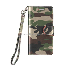 PU Leather Camouflage Wallet Folio Case for iPhone 7 with Hand Strap