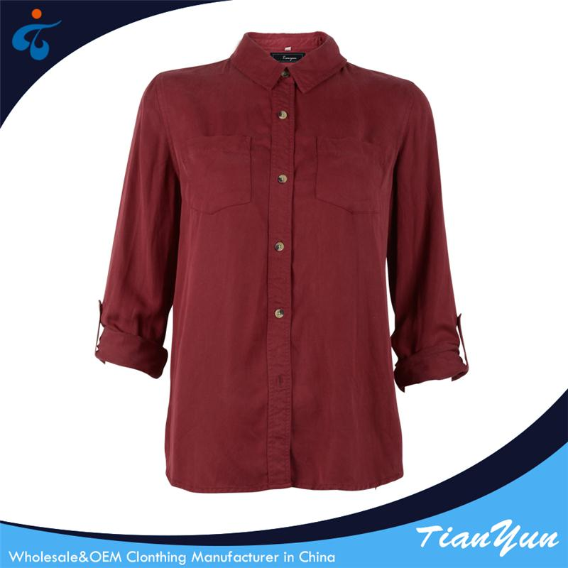 Customized professional beautiful causal red long sleeve women's shirts
