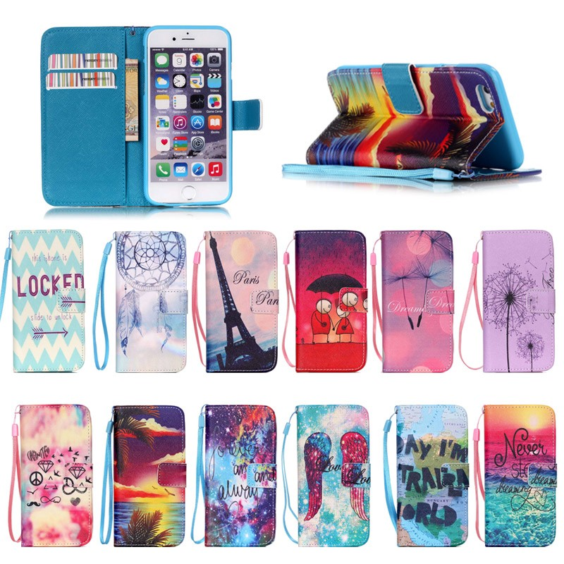 Cover Case For iPhone 6/6S ,Colorful PU Leather Wallet mobile phone cover Case with hand strap