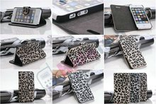 Fashion Leopard Wallet Leather Case for iphone 5 5G,Case for iPhone 5 case,Leopard Design,OEM