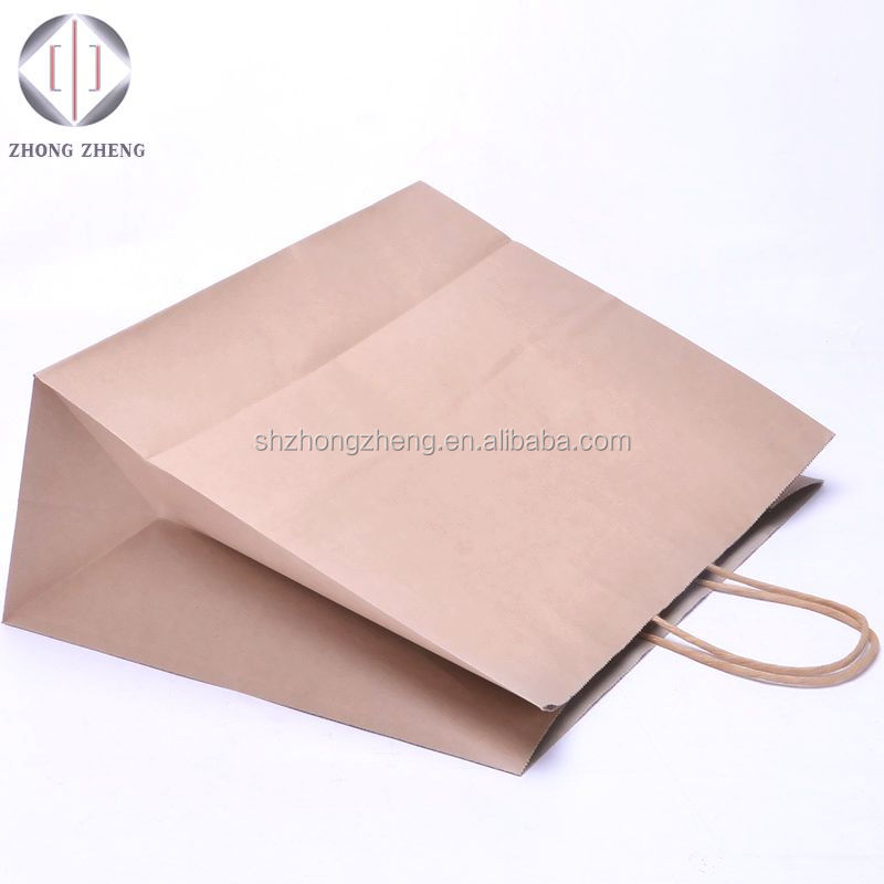 100% brown kraft recycled machine made outlet clothes handle shopping paper bags