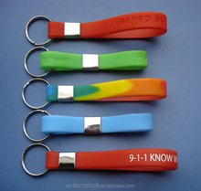 Hot whole sale OEM custom rubber keychain silicone wristband keyring for business promotion Marketing gift