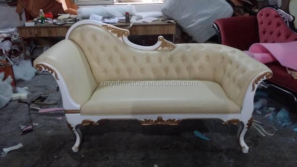 Wooden antique furniture model leather chaise lounge for for Antique chaise for sale