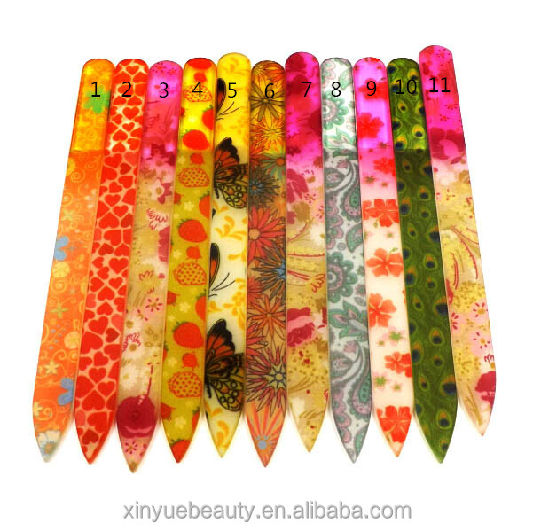 Glass Nail File with Designs colorful glass nail file