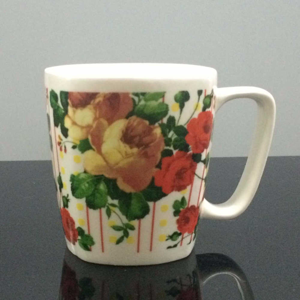 Square Porcelain Coffee Mug with Printing