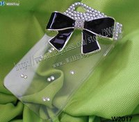 Clear Cover with Rhinestone Ribbon Design Case for iPhone 4S. Clear Cover with Black Ribbon Design