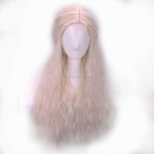 Girl Long Purecolor Light Golden Curls Daenerys Targaryen Cosplay 28inch Temperature Fiber Synthetic Hair Wigs Fast Shipping