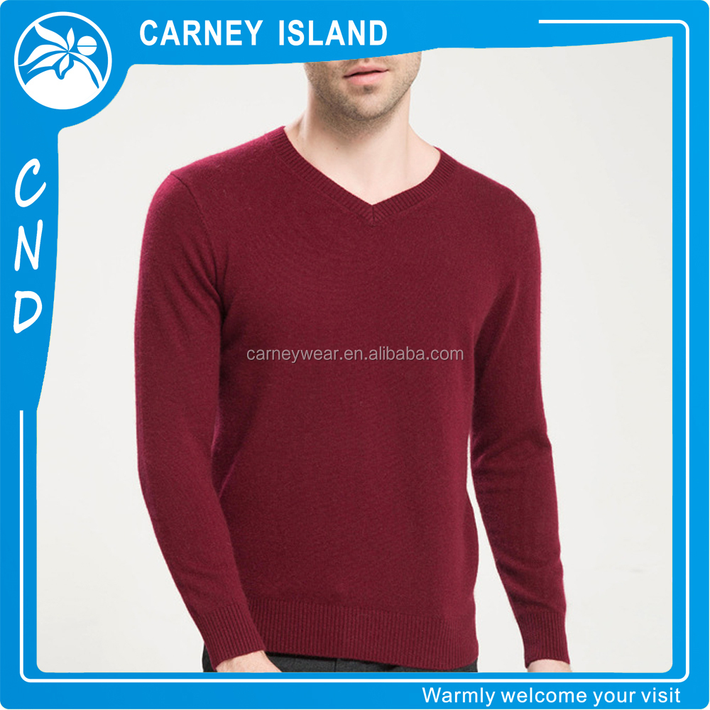 Custom v neck sweater knitting blank solid color cheap knitwear