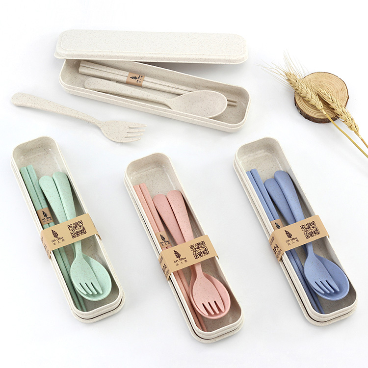 Kitchen Accessories Wheat Straw Spoon Chopsticks Dinnerware Travel Cutlery <strong>Set</strong> With Case