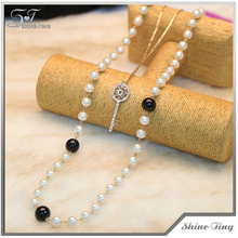 10% discount hot selling black double layer costume sweater long chain pearl necklace with key pendant