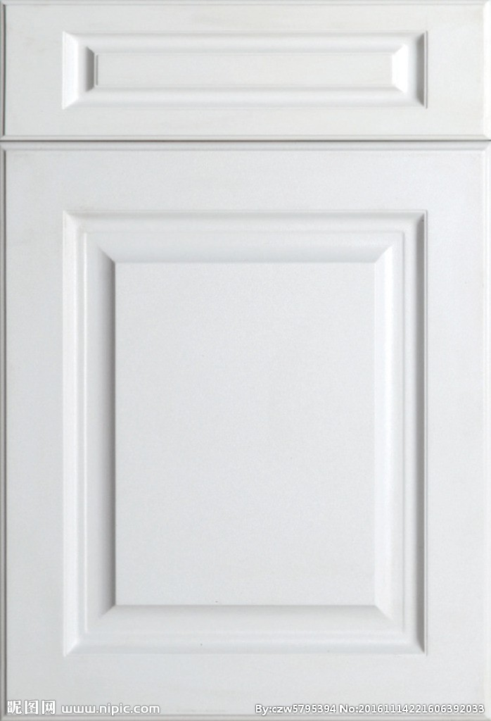 White PVC faced surface and Melamine faced back MDF board cabinet door and drawer front