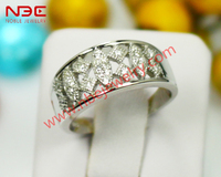 Costume woman band ring jewelry, wax micro pave setting 925 sterling silver jewellery