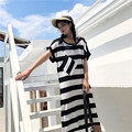 Newest soft cotton white and black strip pattern women long maxi dress with front pocket