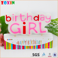 Letter pink beautiful birthday cake candles for girl