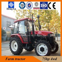 75hp 4WD farm tractor with plow tiller front loader backhoe,mower