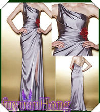 2013 ST16 one shoulder with ruched skirt low v neck evening gown