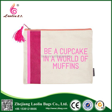 Hot Sell Reusable Eco-friendly Small Canvas Make Up Zipper Bag