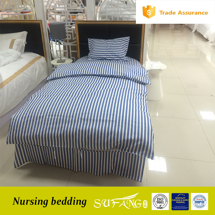 Custom made navy blue stripe nursing home /medical/hospital bedding