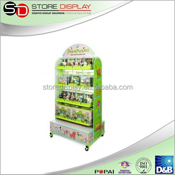 2 faces metal display stand with hooks for brand gifts advertising