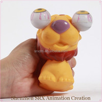 desktop squeeze toy rolling eyes pop out custom lion wild animal toy, custom plastic soft wild animal eyes pop out squeeze toy