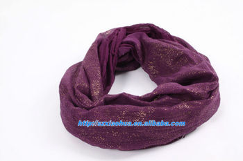 XH-1190 100% Cotton gold glitter printed fashion infinity scarf