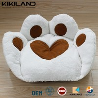 Soft plush paw shape pet bed white warm cat bed