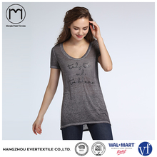 New Design Women Gray Letter Printed Short Sleeve Sexy Casual Long T shirt