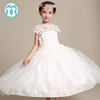 latest design wedding dress lace party dress with headwear for kids girls