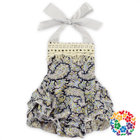 Wholesale Smocked Clothing Baby Halter Triple Ruffle Romper Newborn Baby Clothes Smocked Romper