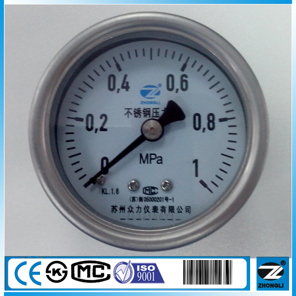 "2.5"" all stainless steel 1 MPa axial air pressure gauge"