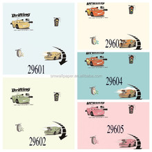 little boys bedroom wall wallpaper textile non-woven materials drafting cars wall paper