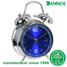guangzhou factory 4inch metal analog twin bell desk alarm clocks / timepieces