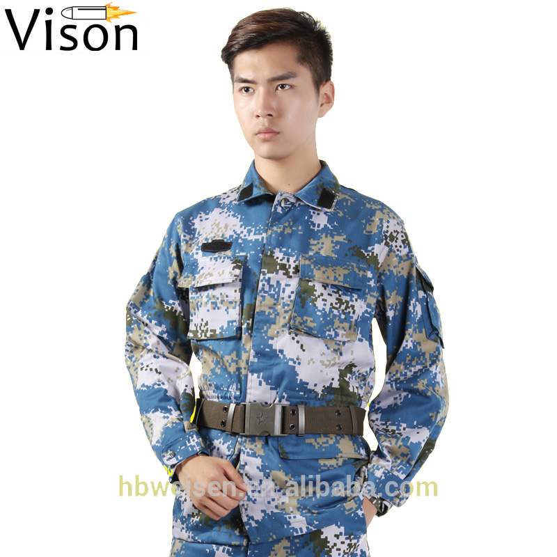 Men BDU Military Tactical ocean camouflage Uniform PLA blue navy army military camouflage combat uniform