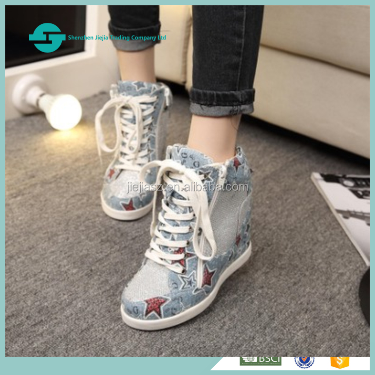All Cotton fabric lining Women cowboy shoes Stars decoration High top denim shoes