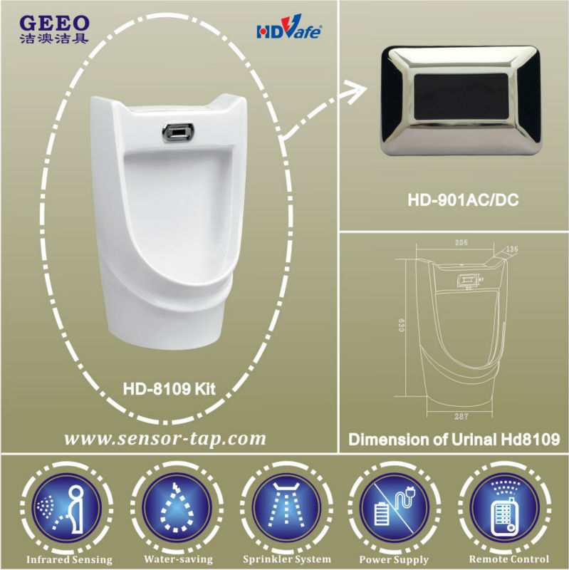 Electrical Battery Powered Sensor Male Urinal