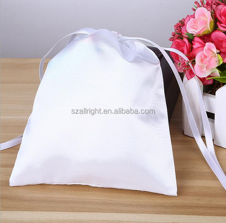 whosale Custom High Quality white satin dust bag ,Small cheap satin bags hair