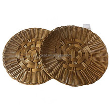 Fancy high quality food storage plastic rattan customized size knitting round placemat display rack