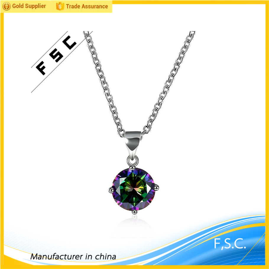 Nice jewelry white gold plated multicolor rounded pendant chain classic necklace at low price for ladies